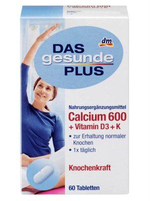 Viên Uống Das Gesunde Plus Calcium 600 Vitamin D3 + K , 60 Viên