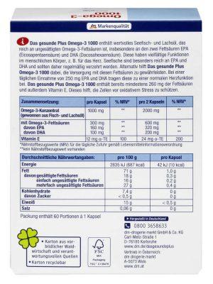 Dầu Cá Omega 3 DAS Gesunde Plus 1000 mg + Vitamin E, 60 Viên