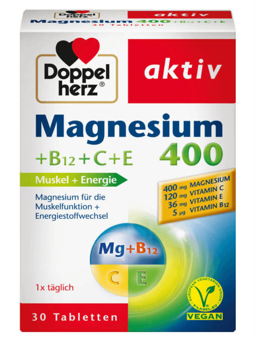 Viên uống Doppelherz Magnesium 400 mg + B12 + C + E, 30 viên