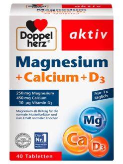Doppelherz Magnesium + Calcium + Vitamin D3 Tabletten, 40 St