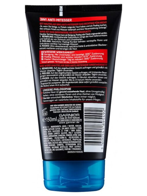 Sữa Rửa Mặt Garnier Hautklar 3 in 1 Anti Mitesser 150ml