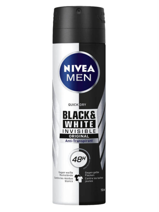 Xịt khử mùi Nivea Men Black & White Invisible, 150ml