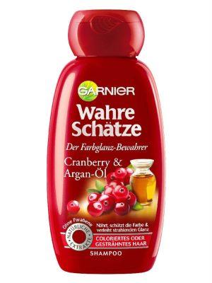 Dầu Gội Garnier Wahre Schatze Tinh Dầu Argen Và Quả Cranberry Cho Tóc Nhuộm, 250 ml