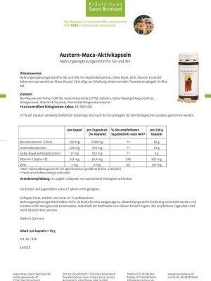 Thuốc Tăng Cường Sinh Lý Austern Maca Aktiv Kapseln, 120 Viên