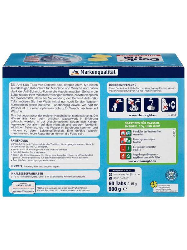 Viên vệ sinh máy giặt Denkmit Anti Kalk tabs, 60 viên