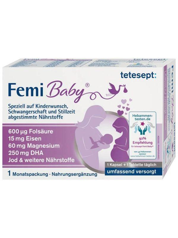 Vitamin Tổng Hợp Cho Bà Bầu Tetesept Fami Baby, 60 Viên