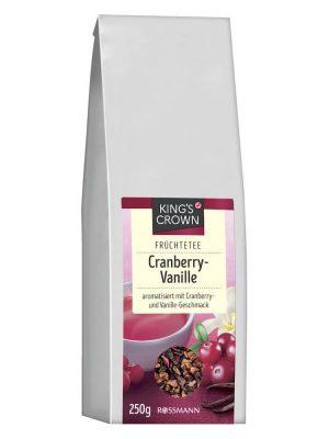 Trà hoa quả khô King's Crown Cranberry-Vanille hương vị việt quất và vani, 250g