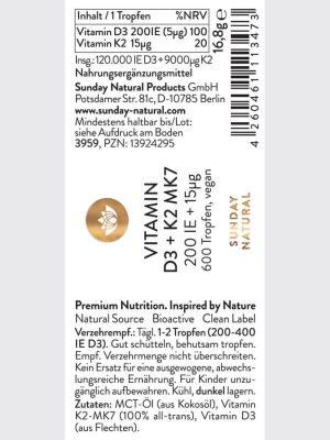 Vitamin D3 K2 MK7 200IE Sunday Natural Tăng Chiều Cao, 20ml